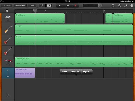 Pasting audio from another application via the clipboard