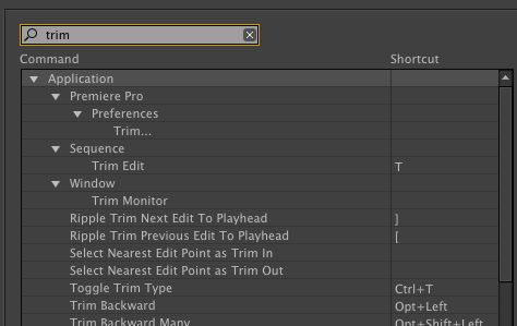 Premiere Pro > Keyboard Shortcuts.