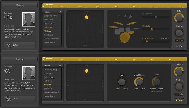 Fig 2 The performance controls in Drummer.