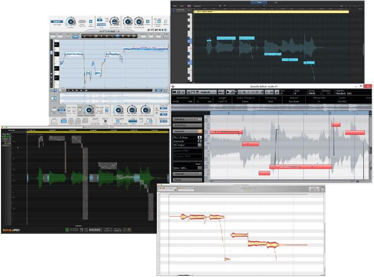 Fig 3. Graphic Pitch Processors (clockwise from top left): Auto-Tune's Graphic mode, Logic's Flex Pitch, Cubase's VariAudio, Melodyne, Revoice Pro's Warp Process.