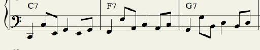 Bass Pattern 3: Arpeggiated Chord Line alternating Quarter and Swung Eighth Notes.