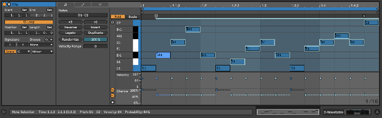 PIC 9: All notes above C1 reduced to 64% chance of playback.