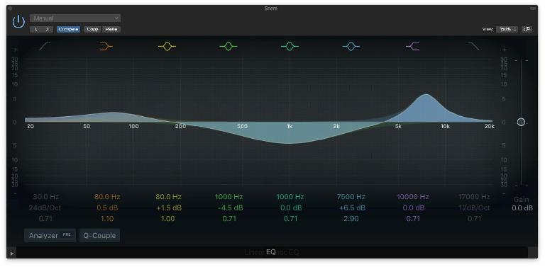 "Level controls for gain-staging within EQsSeveral EQ bands with different ""Q"" settings"