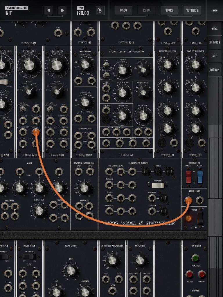 Plug the sound source (oscillator) into an output (trunk).