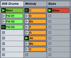 On the track '808 Drums' we can see our setup, one main drum pattern and three fills.