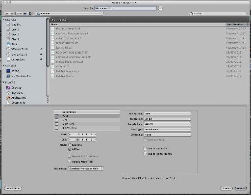 Export settings in Logic Pro