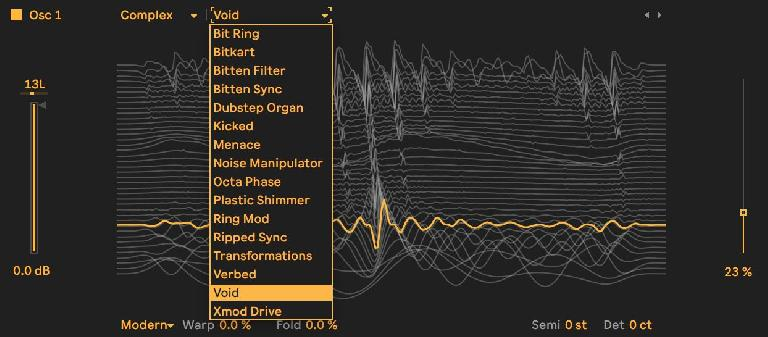 Selecting the actual wavetable.