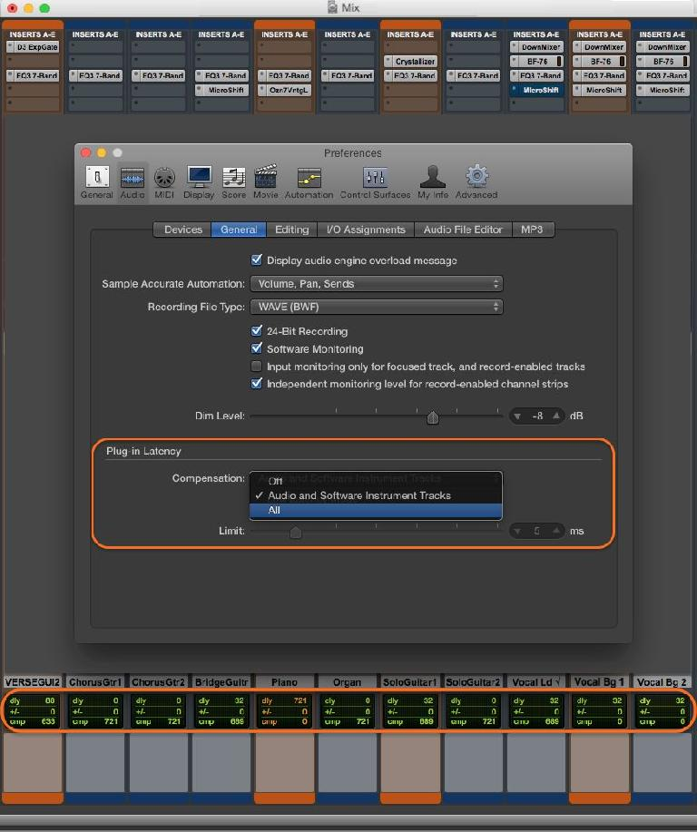 Fig 1 Plug-In Latency readouts & settings