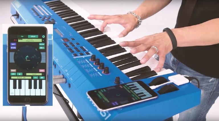 Yamaha MX61 BU with FM Essentials iOS app.