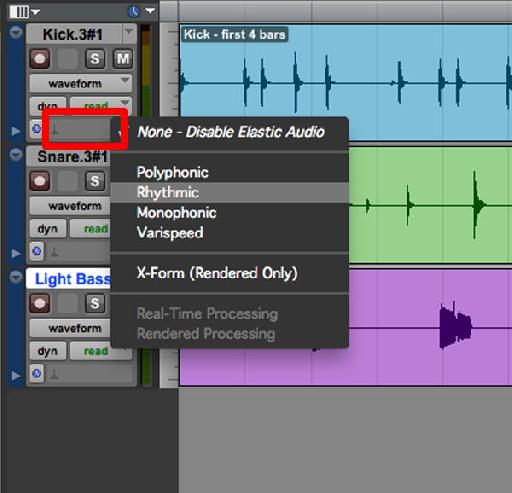 Click the Elastic Audio plug-in pop up selector (the red rectangle area) to choose the Elastic Audio plug-in.