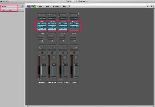 Pic 11. Plug-ins inserted on the channel strips.