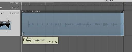 Drag the bottom left-corner of the audio region to the left to reveal the entire audio performance.
