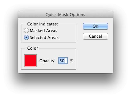 My preferred Quick Mask setup, painting selections not masks