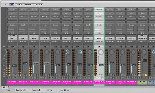The vocals are then grouped and isolated using the solo function.