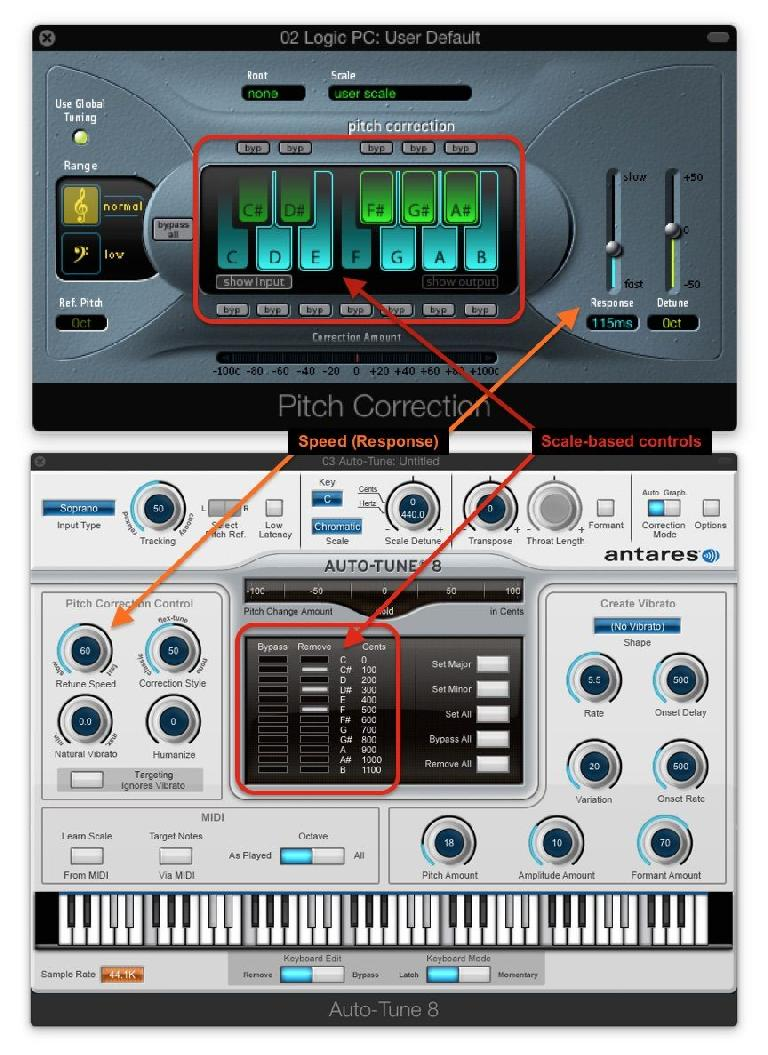Basic (and more advanced scale) controls in Auto-Tune and Logic's Pitch Corrector plug-in
