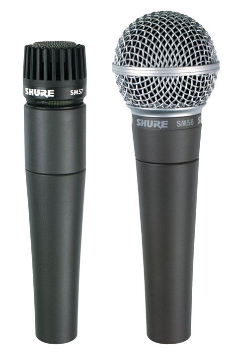Fig 1 The mainstays of live sound—Shure's SM57 (instrument) & SM58 (vocal) mics.