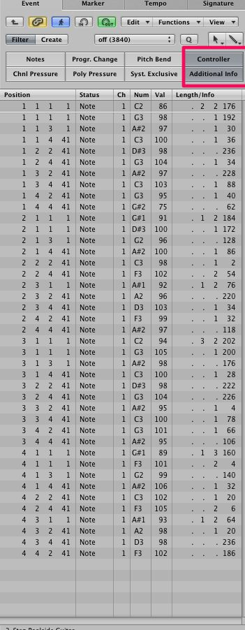 Only MIDI note data is visible