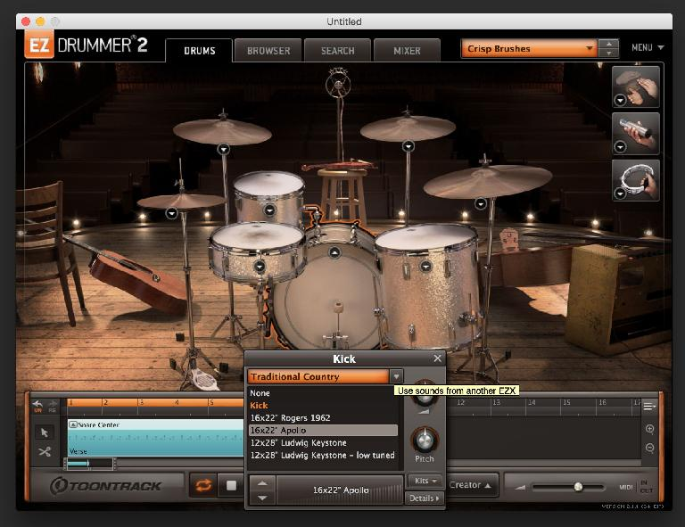 Swap out any drum element for another to customize kits