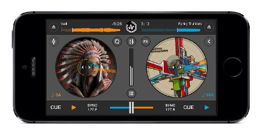 Cross DJ 2 for iOS Main view on iPhone