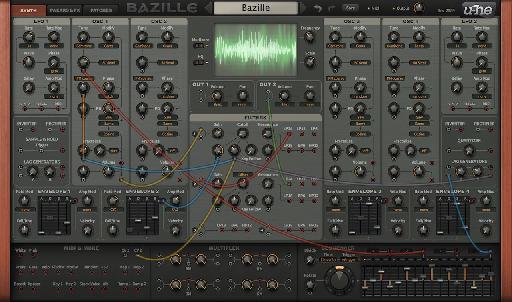 u-he Bazille digital modular synth main screen.