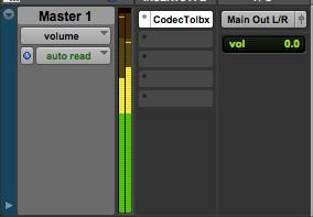 Figure 2 – Codec Tool Box Plug-in on Master Channel in Pro Tools