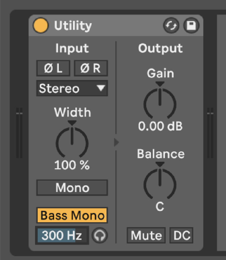 PIC 6: Utility with Bass Mono at 300 Hz to eliminate any stereo information below that frequency – in this case on my kick drums.