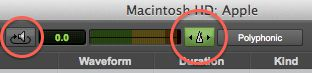 The audition and the 'Audio files conform to session tempo' buttons in the browser window.