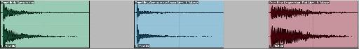Drum Compression as Effect: L->R: No Comp; Slower Attack & Release (tight drum sound); Fast Attack & Release (looser, ringy sound).