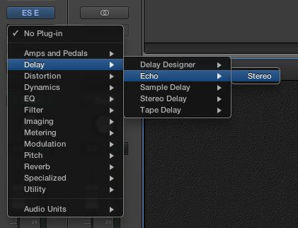 Selecting the Echo plug-in in a channel strip.