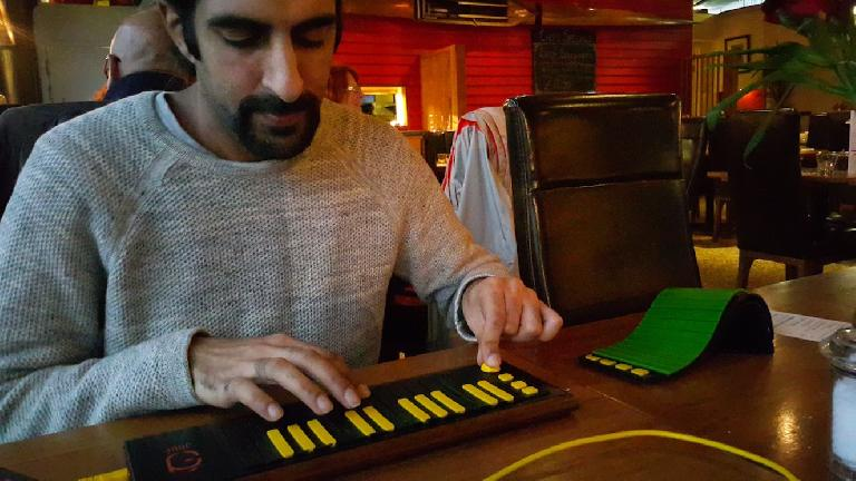 Your truly playing the keyboard interface on Joué. My favorite was definitely the green harp interface. Mesmerising when plying string instruments.