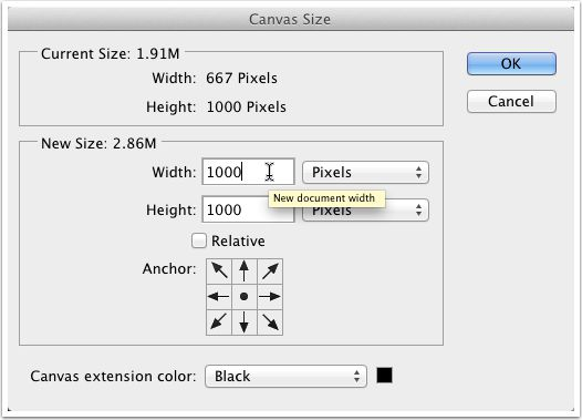 Canvas size second.