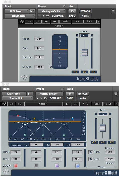 Fig 4 Settings used to impart a rounder tone to a bass (top), and a more percussive quality to a piano (bottom)