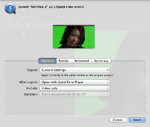 Export the movie