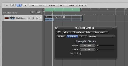 Logic's sample delay plug-in in action