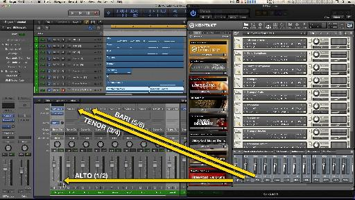 A multi-timbral, multi-output instance of Kontakt.