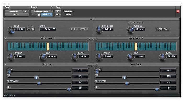 Fig 5 Stereo micro-pitch-shifting is a popular technique for subtly widening vocal tracks