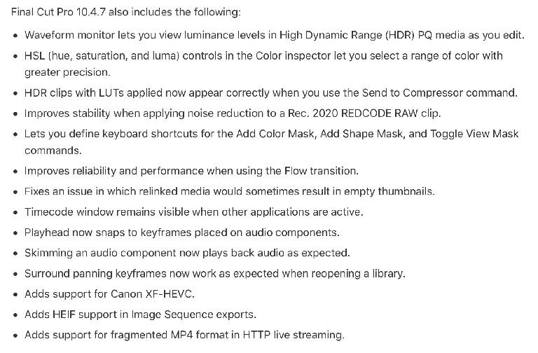 The last few minor FCP X features and bug fixes