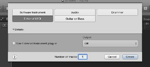 Create an External MIDI track.