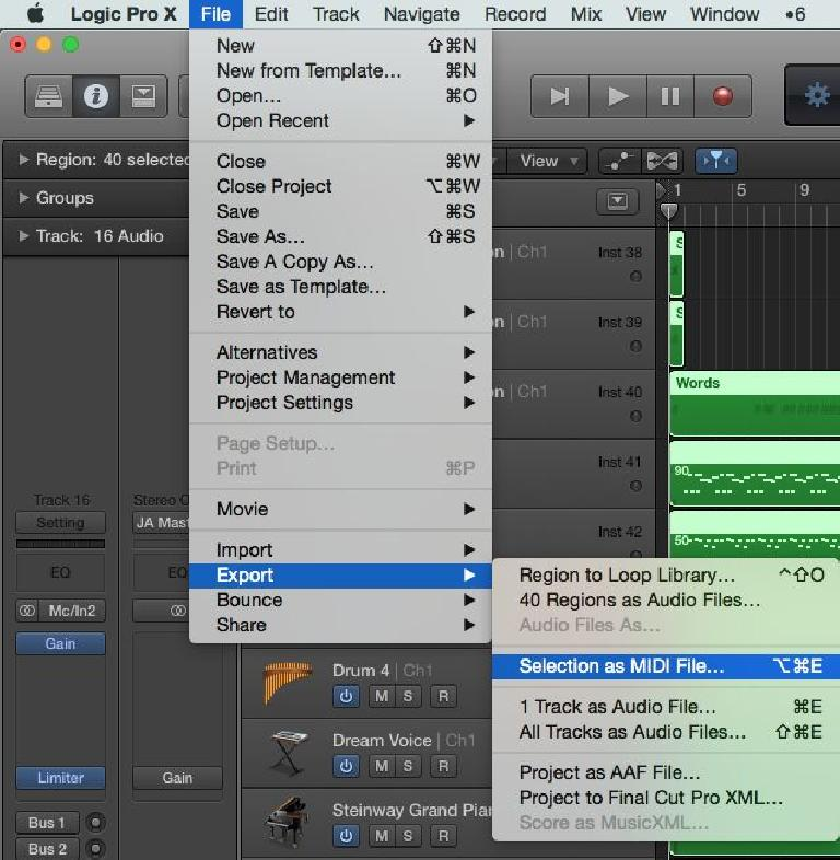 Fig 1 Exporting a Standard MIDI File in Logic