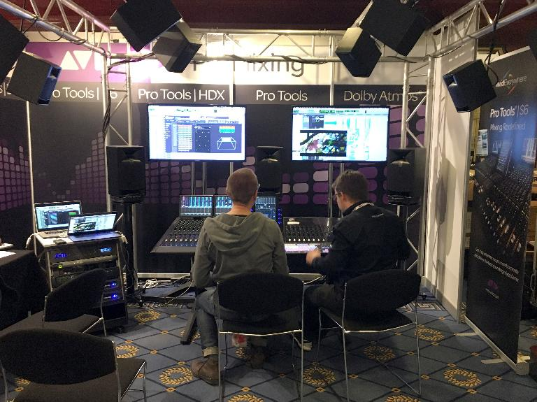 Avid demo their S6 Control surface and Dolby Atmos Integration with JBL speakers.