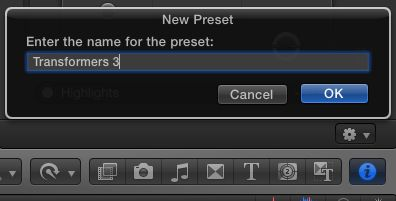 Naming the preset