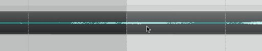 Thin blue line in the center of the audio waveform