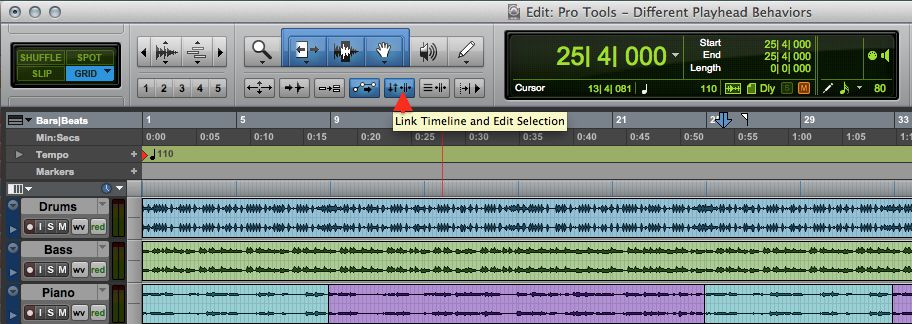 The 'Link Timeline & Edit Selection' Button.