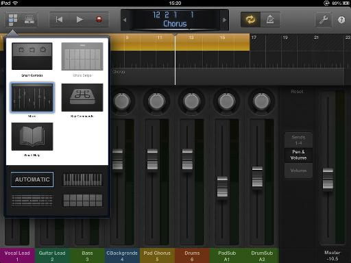 Tap the View button in the Control Bar and choose Mixer view.