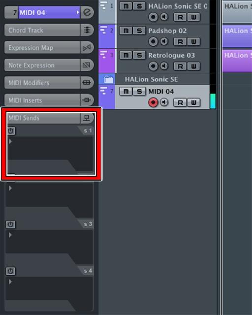 Figure 7: The MIDI Sends tab showing top-to-bottom: Power button, MIDI Effect slot, MIDI Send Destination, and MIDI Channel, all settings disabled.