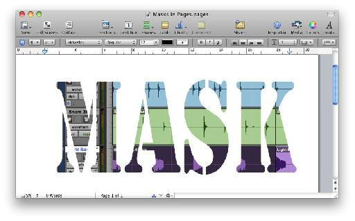 Copying the mask graphic from the Keynote slide to a Pages document allows it to be used as a mask in Pages