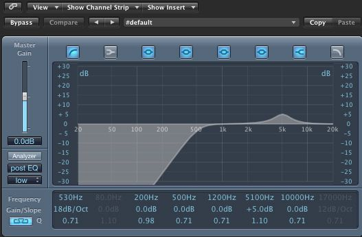 Channel EQ settings