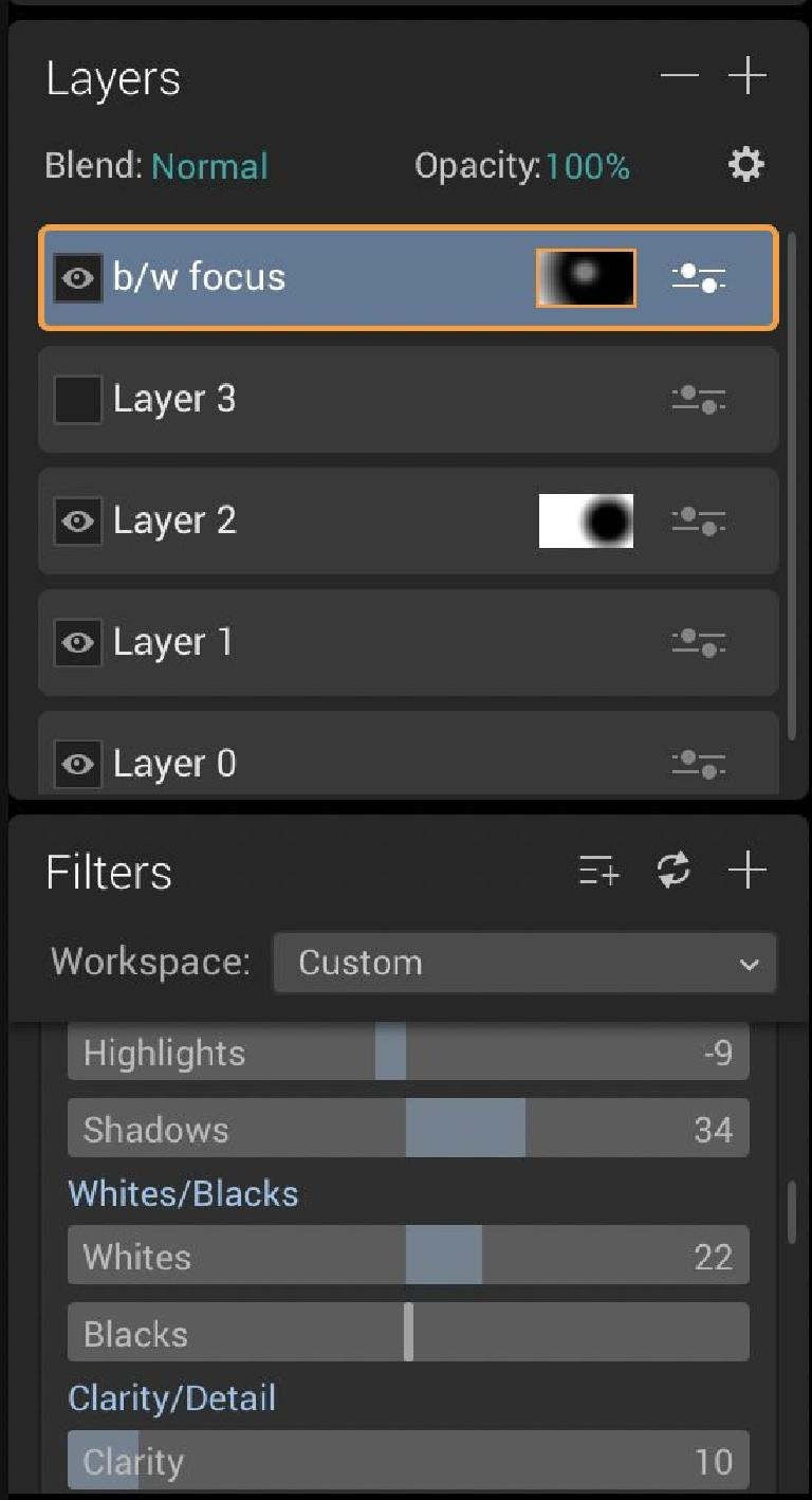Many layers can be added, and many filters can be attached to each one