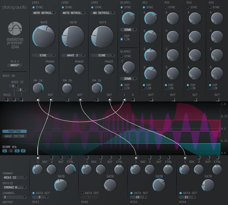 Modulation Processot 3244 plug-in GUI.