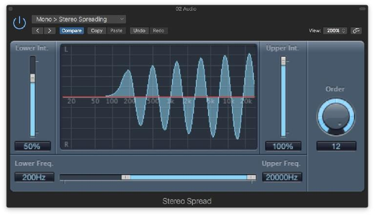 The Stereo Spread plug-in creates a fully mono-compatible stereo image from a mono signal